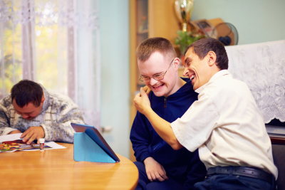 Portrait of three disability people having fun